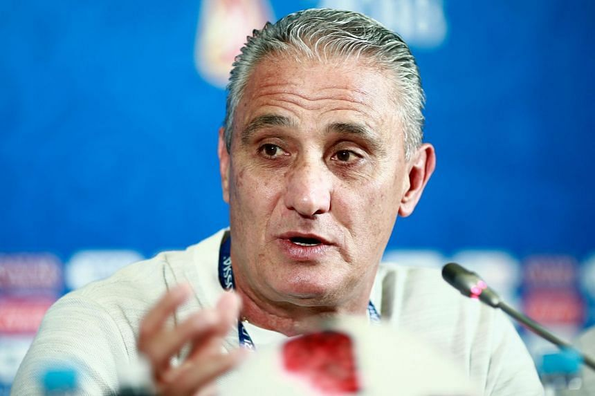 Brazil coach Tite speaks during a press conference in Kazan, Russia, on July 5, 2018.