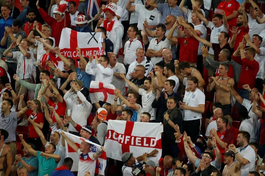 England fans celebrate after the round of 16 match between Colombia and England at Spartak Stadium in Moscow, Russia, on July 3, 2018.