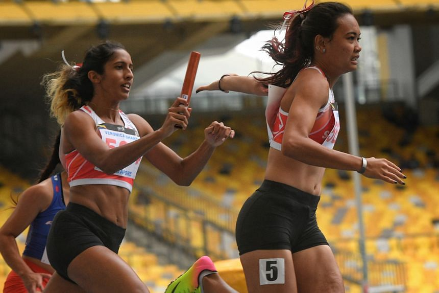 Shanti Pereira passing the baton to anchor runner Nur Izlyn Zaini in last year's SEA Games 4x100m relay final in Kuala Lumpur, where they set a national record of 44.96sec by finishing fourth with Wendy Enn and Dipna Lim-Prasad. Dipna is keen to know