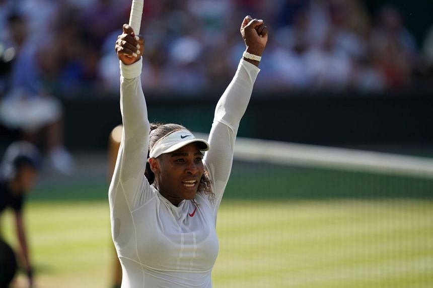 Williams celebrates her victory over Kristina Mladenovic of France.