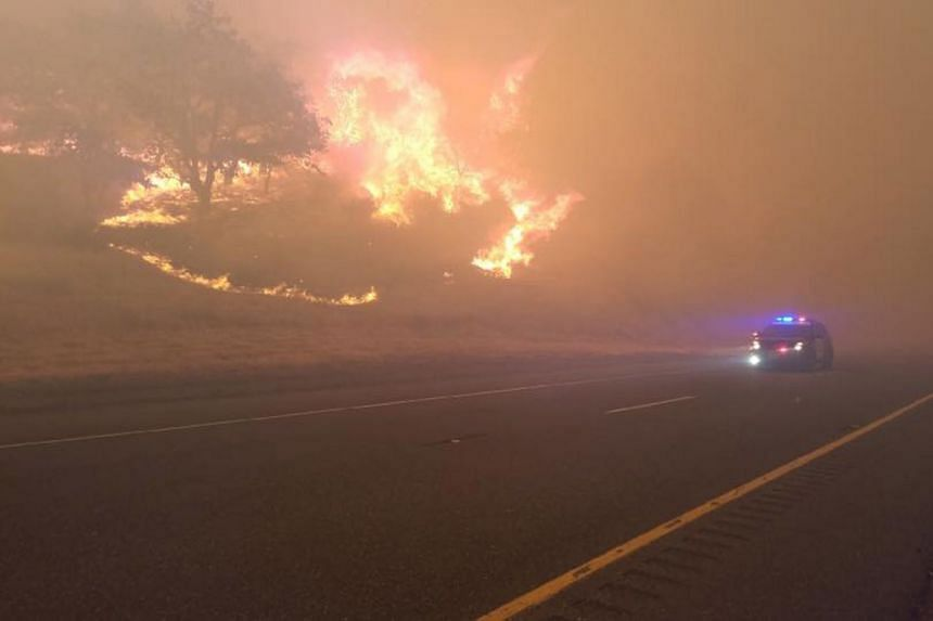 A California Highway Patrol handout photo shows the the Klamathon Fire in Hornbrook, California, July 6, 2018.