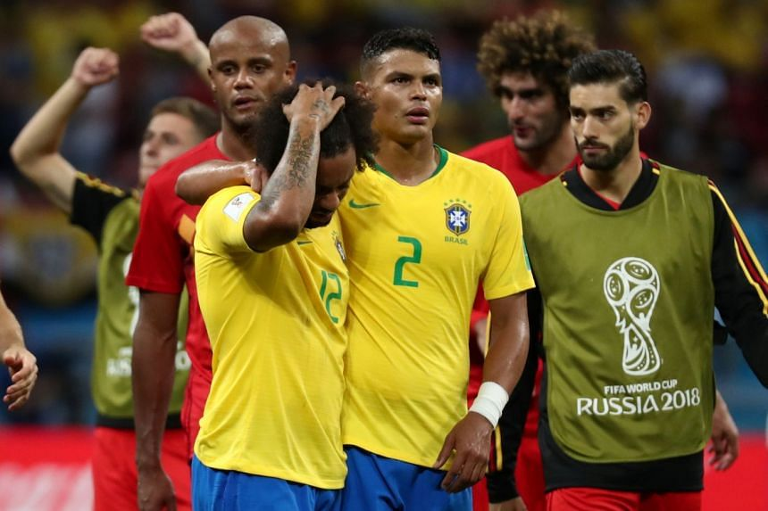 Brazil's Thiago Silva and Marcelo look dejected after the match.