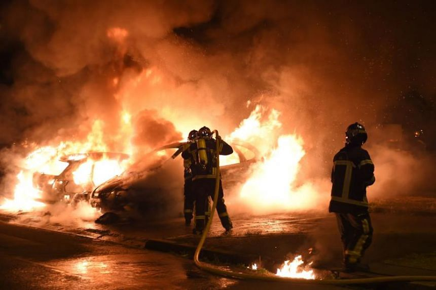 Some 35 vehicles were torched in Nantes before dawn on July 7, 2018, in the fourth night of rioting, after gangs of young people set fire to 52 cars.