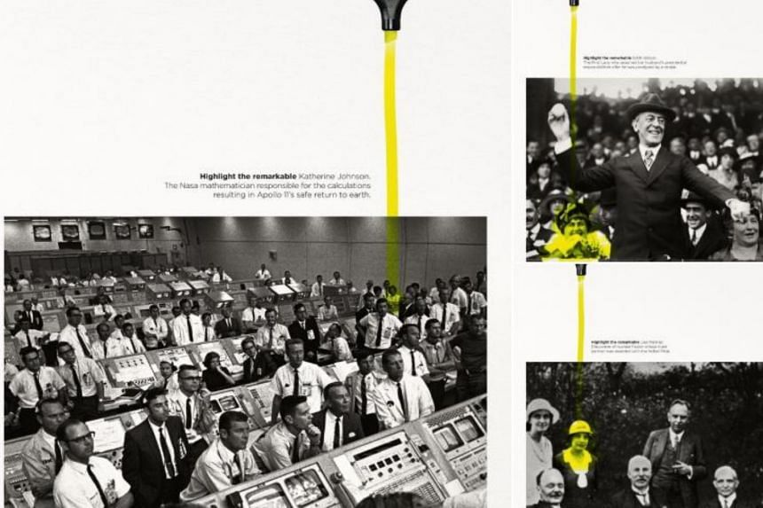 """Titled """"Highlighting the Remarkable"""", the campaign focuses on the achievements of three women, marked out from photos with a highlighter."""