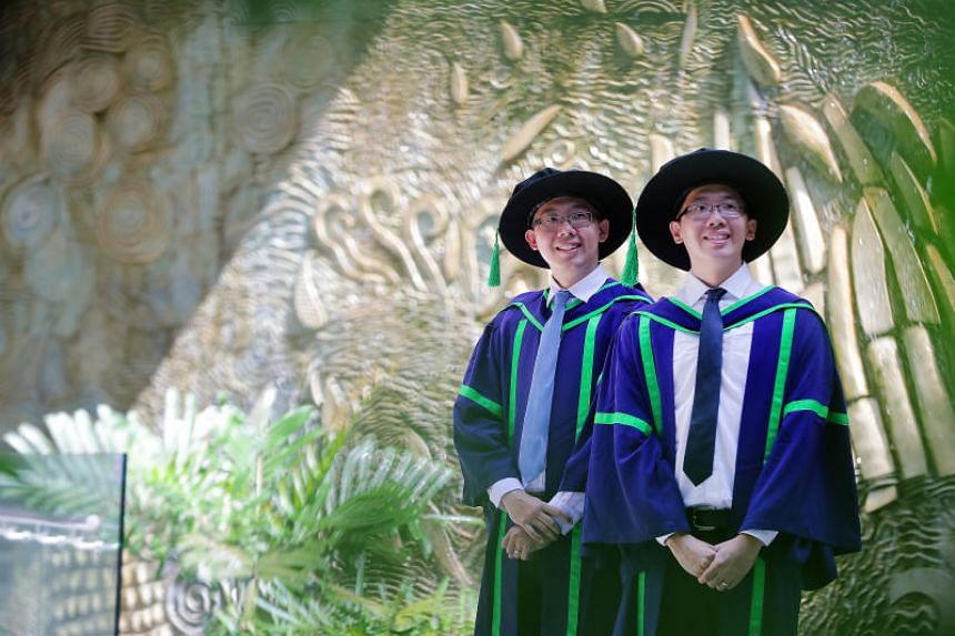 Identical twin brothers Lim Xin Xiang and Lim Xin Shan will graduate with their PhDs at the same ceremony on July 13, 2018.