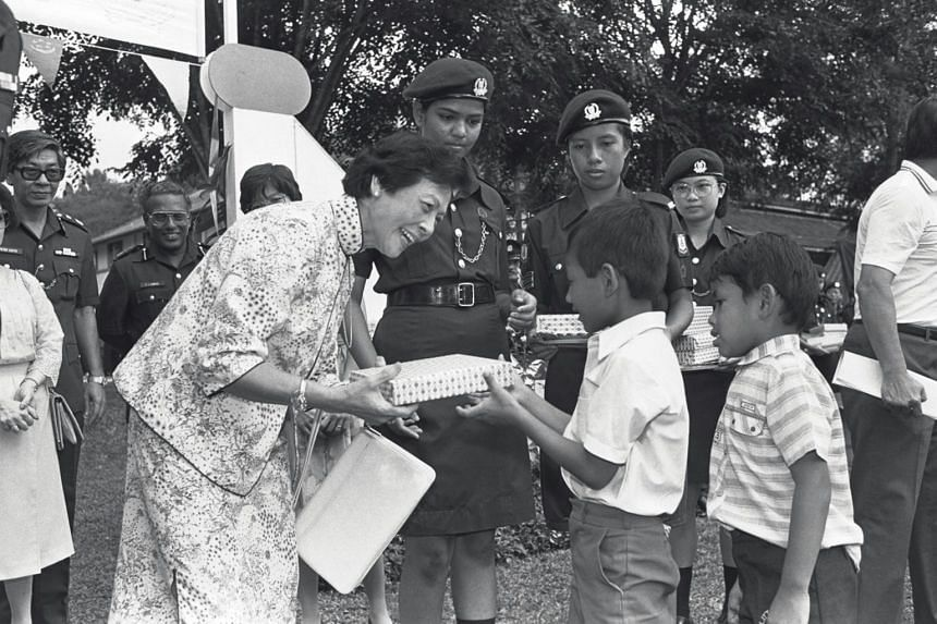 Mrs Wee Kim Wee attends a police fun fair and carnival at the Police Academy in Thomson Road, on Sept 15, 1985.