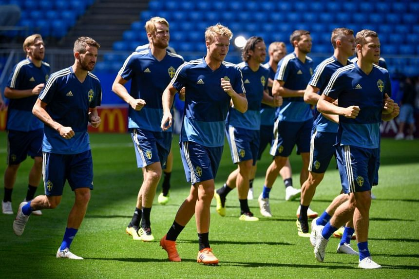 Sweden's players take part in a training session on the eve of the Russia 2018 FIFA World Cup quarter final football match between Sweden and England at the Samara Arena, on July 6, 2018 in Samara.