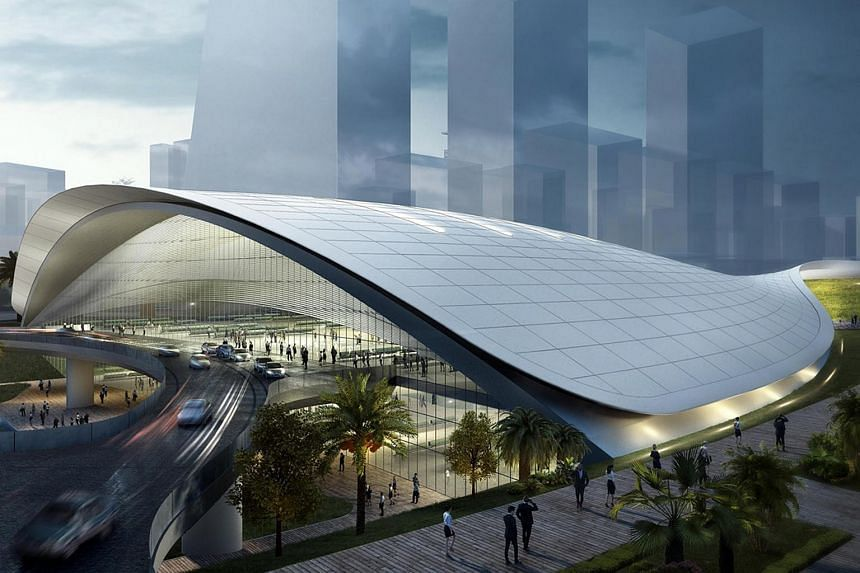 An artist's impression of the High Speed Rail Terminal in Jurong East. MPs want to know the costs that Singapore has already incurred as of last month, and whether they can be recovered should Malaysia renege on the agreement to build the line linkin