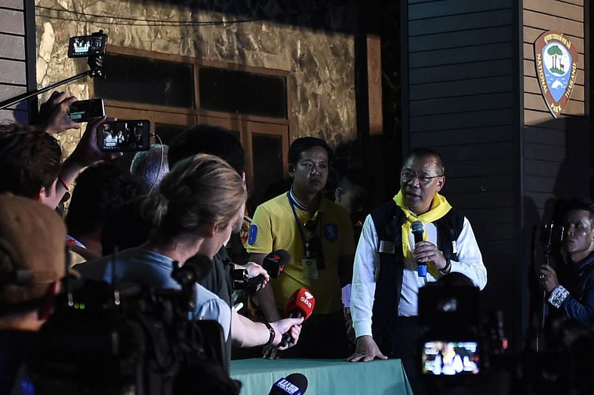Narongsak Osotthanakorn, head of the rescue teamm, speaking during a press conference at the command centre near the Tham Luang cave area as operations continue, on July 6, 2018.
