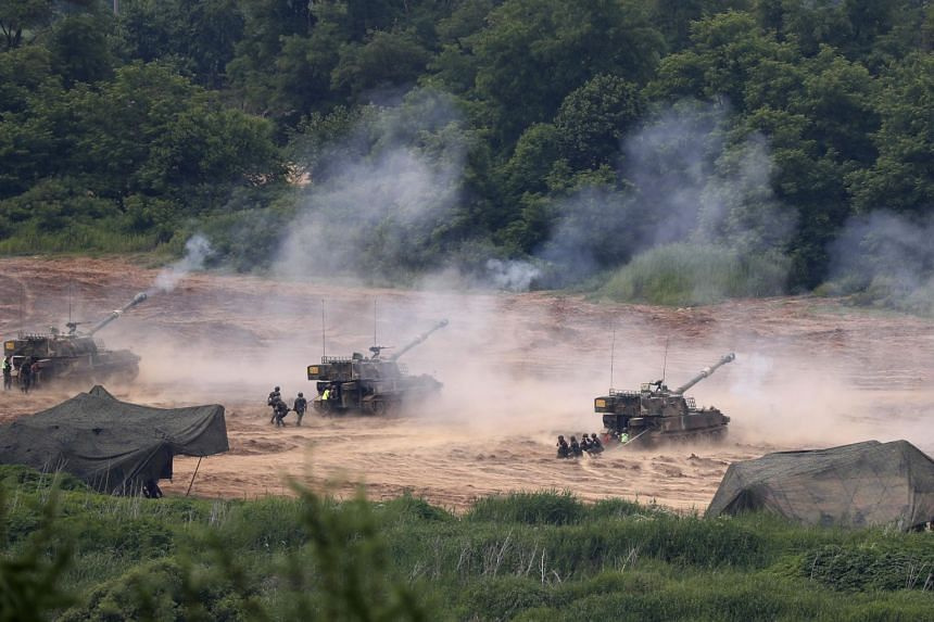 South Korean K-55 artillery at the Mugeon-ri drill field near the Demilitarized Zone in Gyeonggi-do, South Korea, on June 19, 2018. The Pentagon announced in June that it was indefinitely suspending the Freedom Guardian military exercise.