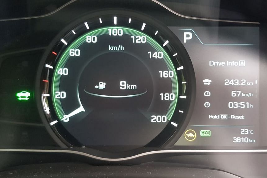 The moment when the Hyundai Ioniq ran out of juice, after driving 243.2km with 9km of range left.
