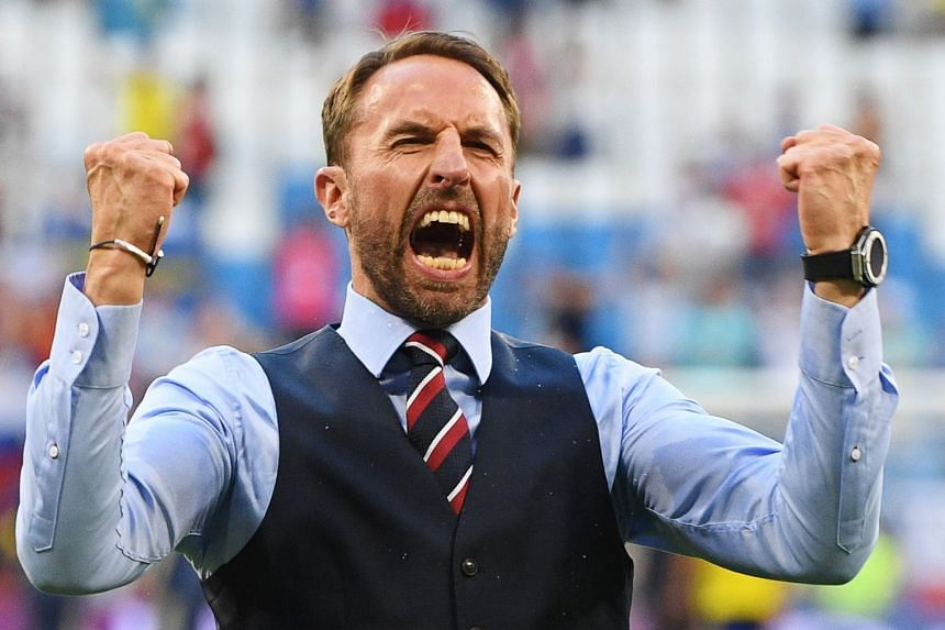 England manager Gareth Southgate celebrates after the match.