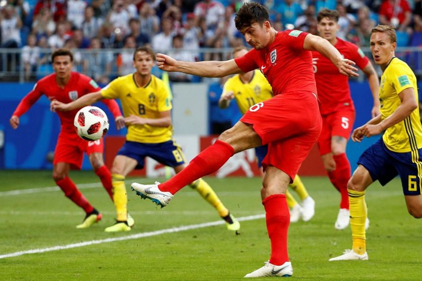 England's Harry Maguire shoots at goal.