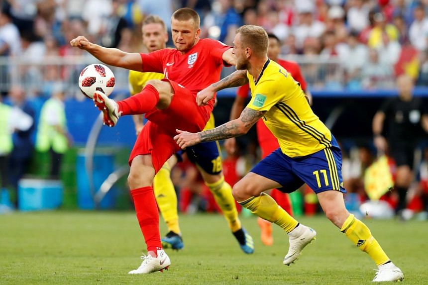 England's Eric Dier in action with Sweden's John Guidetti.