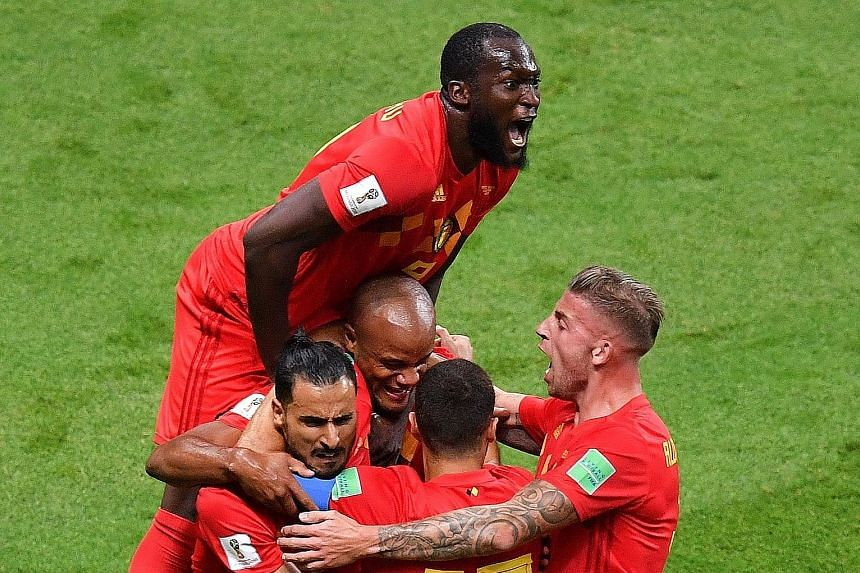 Belgium's Romelu Lukaku jumping over team-mates to celebrate Brazil's own goal during the quarter-final in Kazan on Friday. Kevin de Bruyne made it 2-0 in the 31st minute before substitute Renato Augusto pulled one back for the Brazilians with 14 min