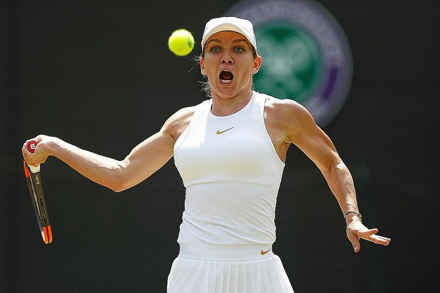 Simona Halep hits a forehand during her third-round loss yesterday to Chinese Taipei's Hsieh Su-wei, who sealed the most significant singles victory of her career 3-6, 6-4, 7-5.