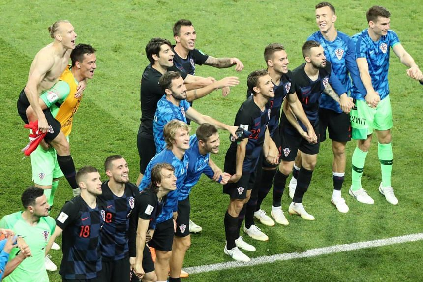 Players of Croatia celebrate after the Fifa World Cup 2018 quarter final soccer match between Russia and Croatia in Sochi, on July 7, 2018.