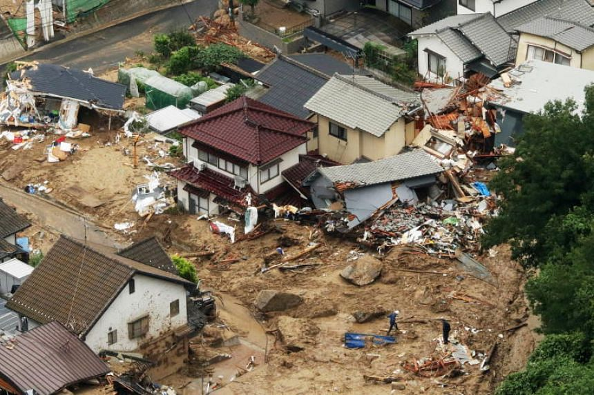 Houses damaged by heavy rains are seen in Hiroshima, Japan, on July 7, 2018.