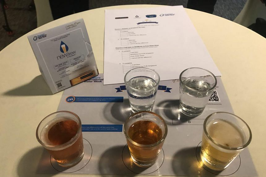 At the Singapore International Water Week which kicked off on July 8, 2018, members of the press were invited to taste three unlabelled glasses of beer - normal beer, Newbrew and Pure Water Brew.