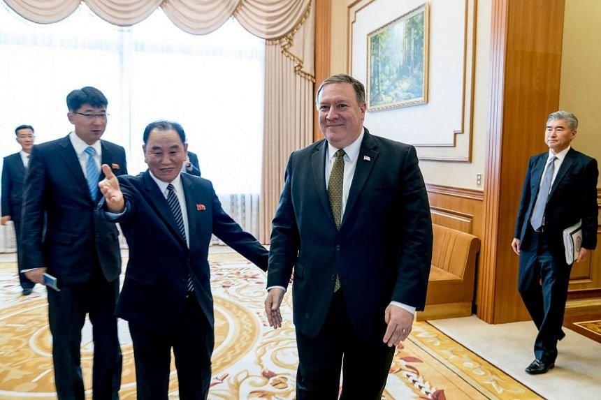 Secretary of State Mike Pompeo (right) with North Korean official Kim Yong-chol at the Park Hwa Guest House in Pyongyang, North Korea.