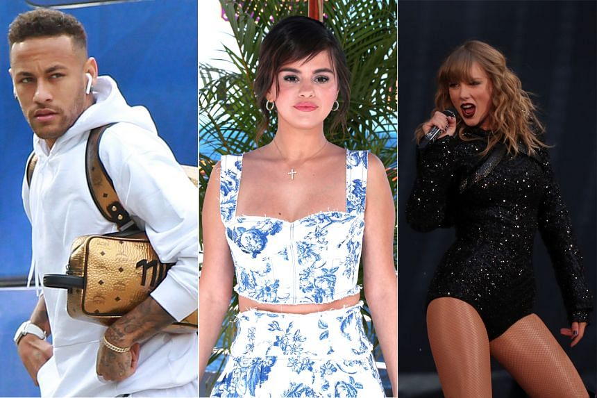 A study, conducted by Social Impostor, a firm that protects celebrities' names online, found that (from left) Brazilian soccer player Neymar was the subject of 1,676 fake accounts, pop star Selena Gomez had 1,389 accounts and singer-songwriter Taylor