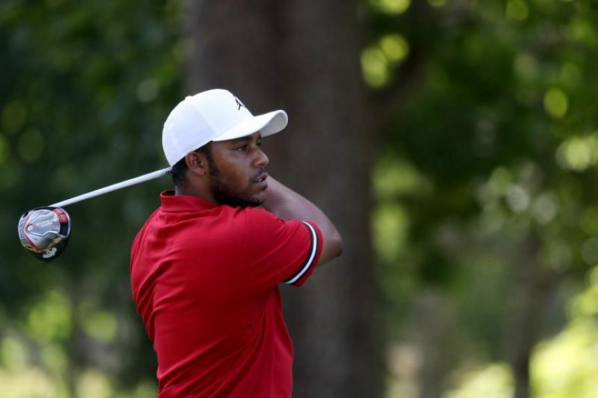 Harold Varner III follows his tee shot on the 17th hole during round three at the Greenbrier Classic in White Sulphur Springs, West Virginia, on July 7, 2018.
