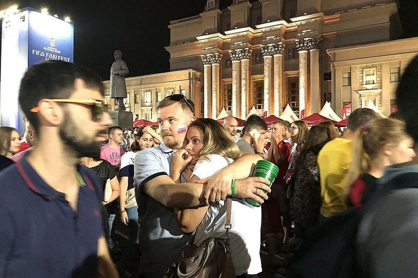 Thousands of disconsolate Russian fans milling around Kuibyshev Square in Samara after the national team's heartbreaking 4-3 loss to Croatia on penalties in the World Cup quarter-finals on Saturday. Despite the painful defeat, the hosts can be proud