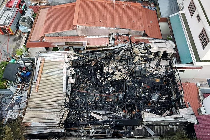Firefighters took nearly two hours to put out the fire that engulfed the Little India terrace house on Friday night.
