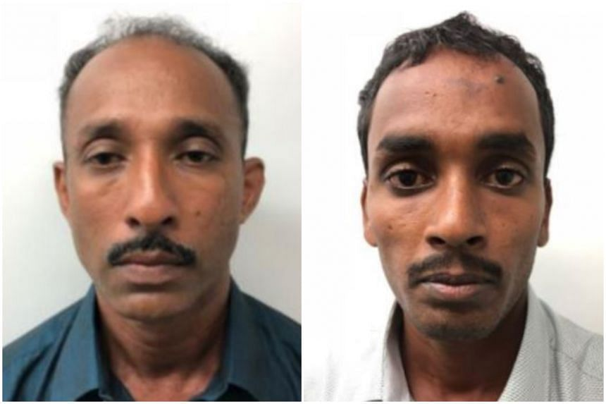 Nagamany Kangatharan (left) and Kandasamy Niththiyananthan were nabbed by Immigration and Checkpoints Authority officers at the transit area of Changi Airport Terminal 3 in June.