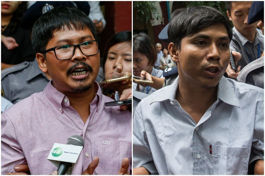 Reuters reporters Wa Lone (left) and Kyaw Soe Oo have been charged by a court in Myanmar for obtaining secret state documents.