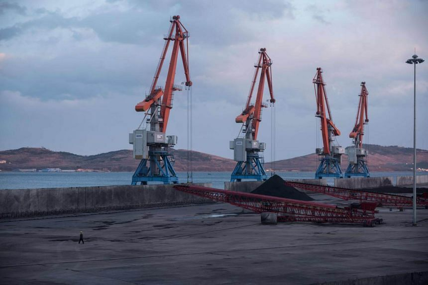 Cranes and coal at the RasonConTrans coal port at Rajin harbour in the Rason Special Economic Zone, North Korea, on Nov 21, 2017. The number of such special economic zones has increased more than five-fold since Kim Jong Un became leader in 2011.
