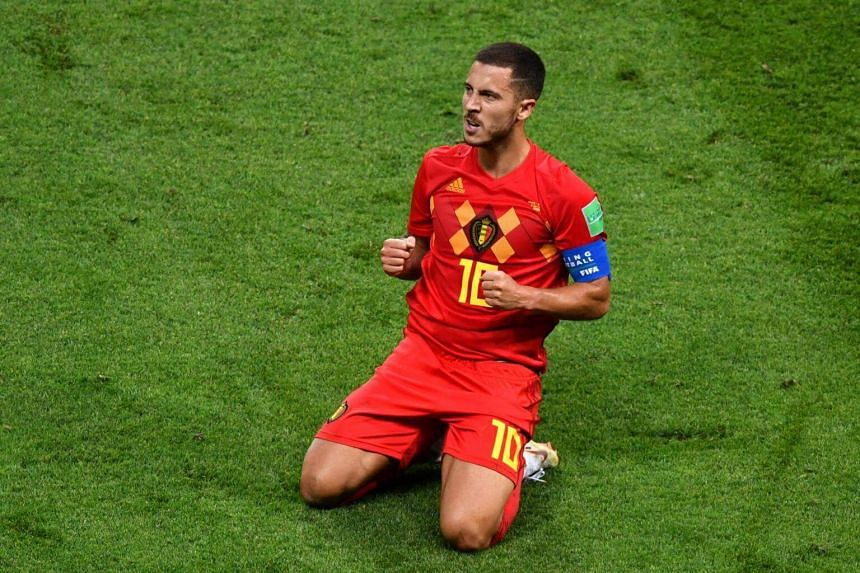 Belgium's forward Eden Hazard celebrates during the Russia 2018 World Cup quarter-final football match between Brazil and Belgium at the Kazan Arena in Kazan on July 6, 2018.