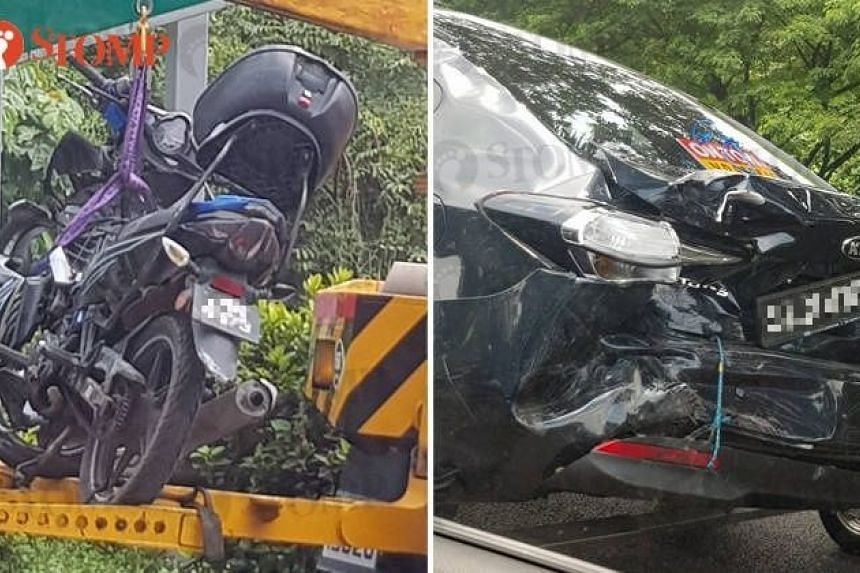 A 33-year-old motorcyclist was injured in an accident involving a motorcycle and three cars on the BKE towards the Woodlands Checkpoint, at 11.47am, on July 7, 2018.