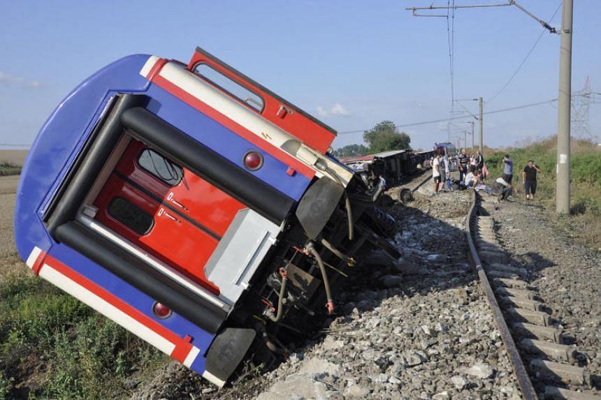 A derailed train is seen near Corlu in Tekirdag province, Turkey, on July 8, 2018.