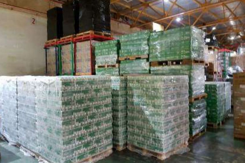 Cartons of beer seized by Singapore Customs officers. Lim Chong Ping pleaded guilty to one charge of engaging in a conspiracy to deal in uncustomed goods and was sentenced by the State Courts on July 5, 2018.