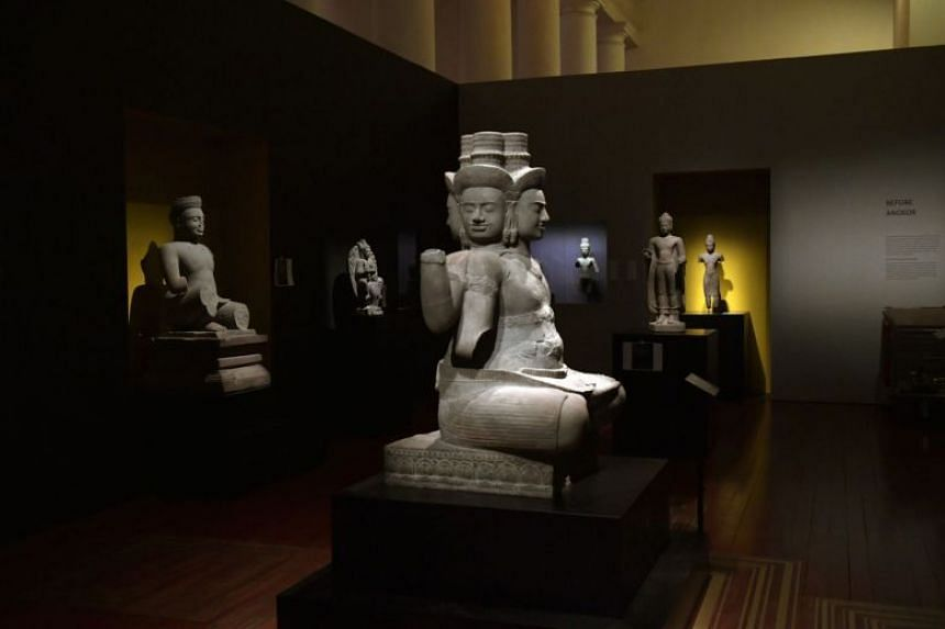 The exhibition features prime examples of Khmer art and architecture dating as far back as the 9th century, and also showcases France's contributions to Cambodia's history.