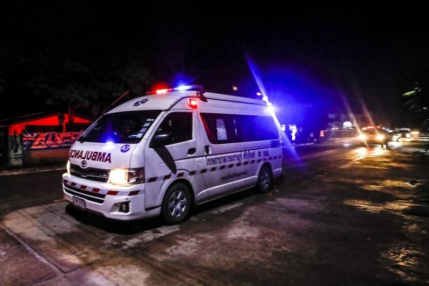 An ambulance believed to be carrying some of the rescued boys from the Tham Luang cave heading to a hospital in Chiang Rai, on July 8, 2018.