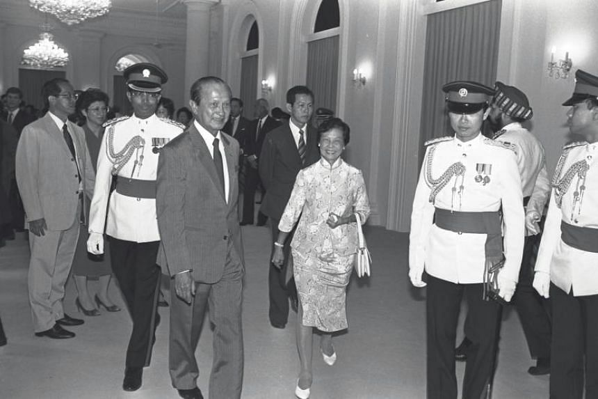 President Wee Kim Wee and Mrs Wee at his swearing-in ceremony at the Istana in September 1985.
