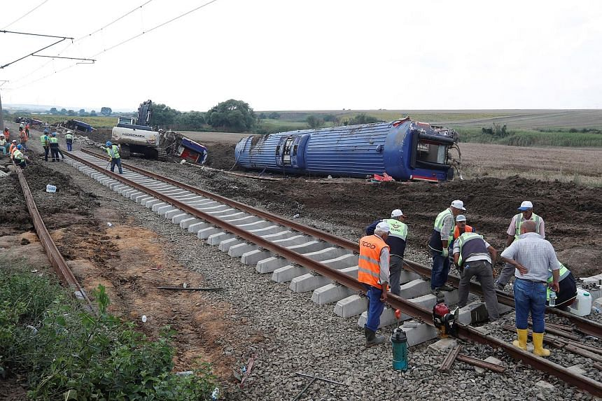 The train, which was carrying 362 passengers, was travelling from the Edirne region to Istanbul's Halkali station on Sunday when six carriages derailed in the Tekirdag region. The transport ministry said the train derailed because recent heavy downpo