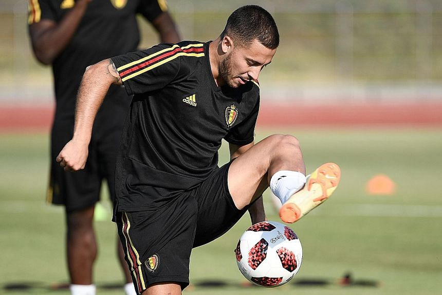 Belgium's Eden Hazard, who was instrumental in his country's 2-1 victory against Brazil, at a training session in Rostov-on-Don.