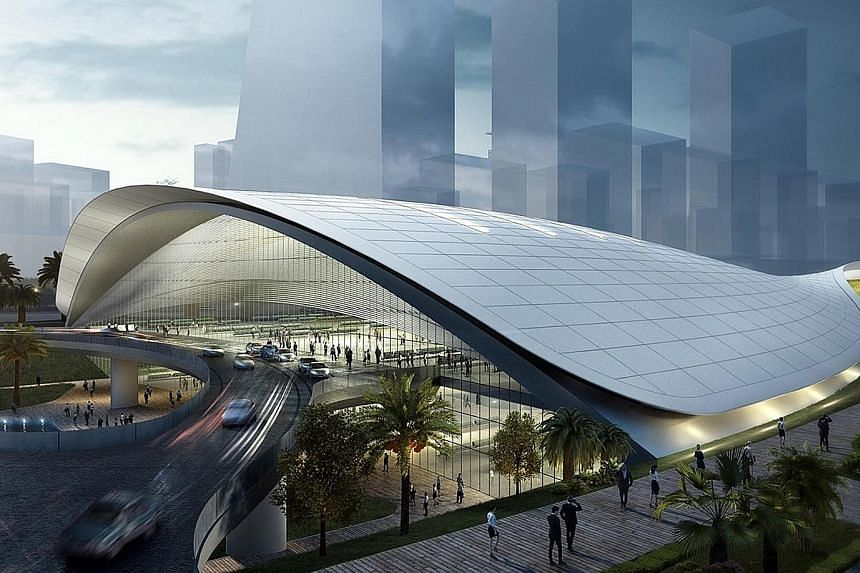 An artist's impression of the HSR terminal at Jurong East. Mr Lawrence Wong said the GST hike was never meant to finance lumpy investments in infrastructure such as the HSR.