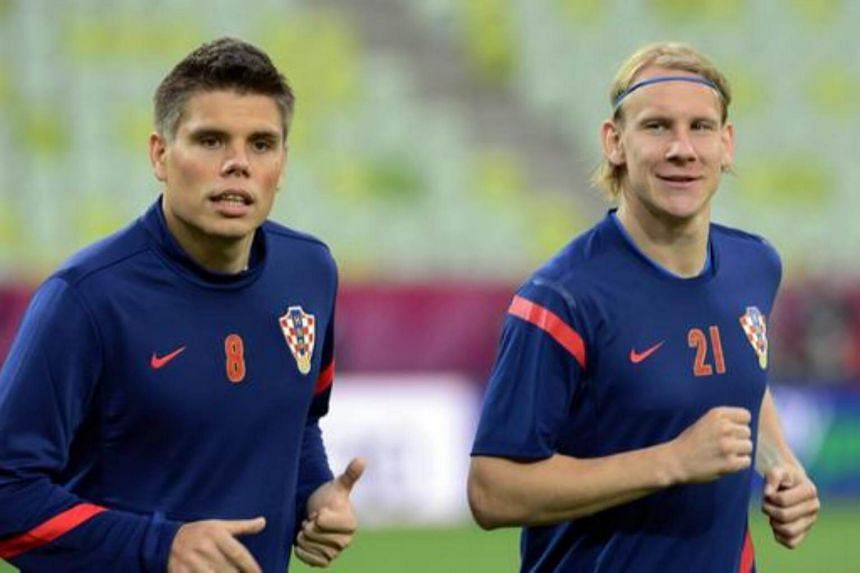 """Ognjen Vukojevic (left) and defender Domagoj Vida published a """"Glory to Ukraine"""" video after the match against Russia in a move which was criticised by politicians and led to a warning from Fifa's disciplinary committee."""