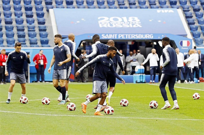 French players during their team's training session in St.Petersburg, Russia, on July 9, 2018.