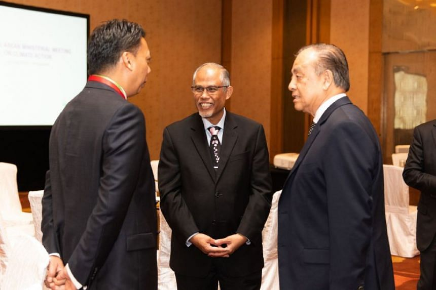 (From left) Malaysia's Acting High Commissioner to Singapore, Mr Jamal Sharifuddin Johan; Minister for the Environment and Water Resources Masagos Zulkifli; and Brunei's Minister of Energy and Industry, Dato Paduka Mat Suny Mohd Hussein.