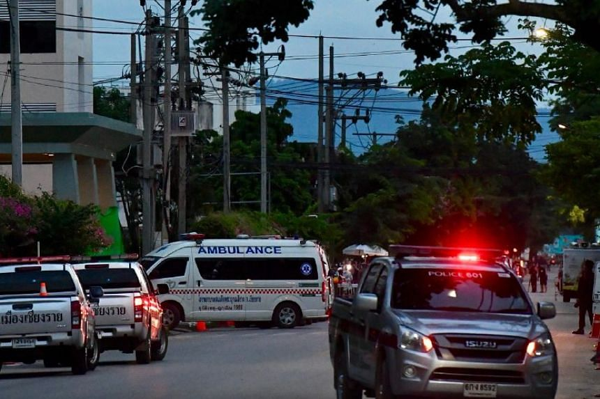 The third ambulance to arrive at the hospital's emergency entrance.