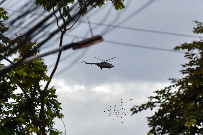 The second rescue helicopter arrives near the Chiang Rai Hospital.