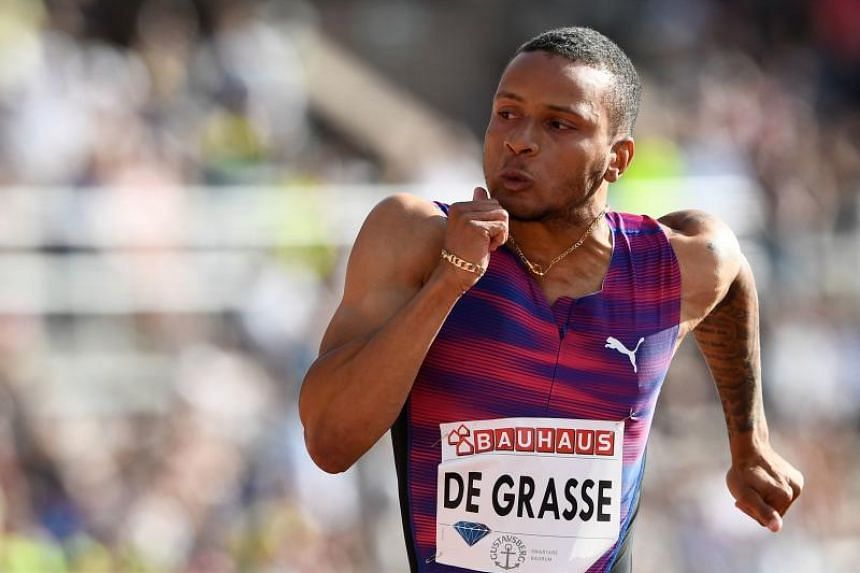 "Andre De Grasse had said he felt a ""little grab"" in his right hamstring while leading the 200m semi-final at the Canadian Athletics Championships on July 7, 2018."