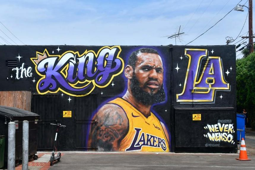 A mural of LeBron James in a Los Angeles Lakers jersey in Venice, California, on July 9, 2018.