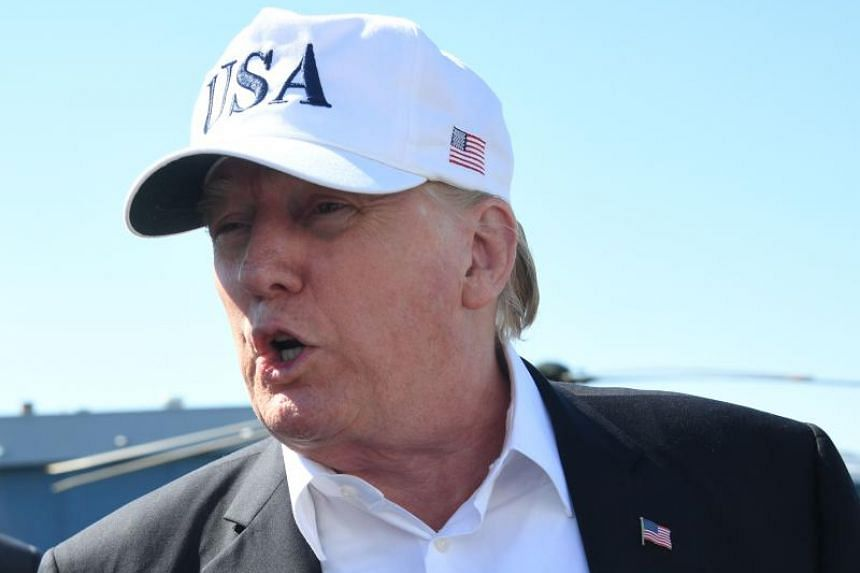 US President Donald Trump at Morristown Municipal Airport in Morristown, New Jersey, prior to boarding Air Force One on July 8, 2018.