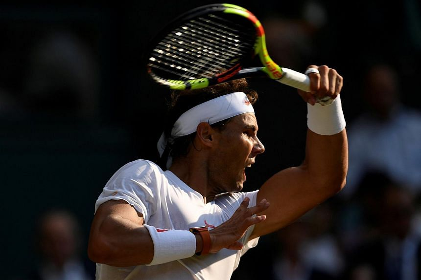 Spain's Rafael Nadal at the fourth round match against Czech Republic's Jiri Vesely (not pictured) in the All England Lawn Tennis and Croquet Club, London, Britain, on July 9, 2018.
